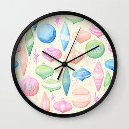 Retro Christmas Ornaments Cream Background Wall Clock