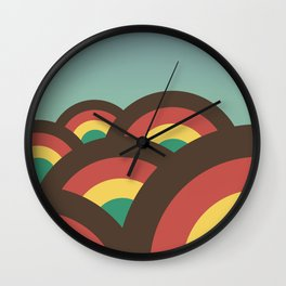 Foothills on warm blue - 70´s Wall Clock