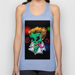 Green Alien zombie in the party. Unisex Tank Top
