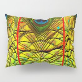 ART DECO RED GOLDEN-GREEN PEACOCK  PATTERN Pillow Sham