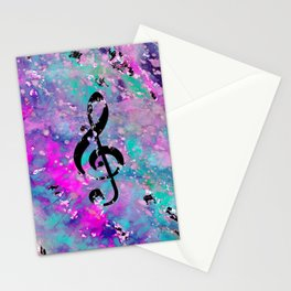 Artistic neon pink teal black watercolor classical music note Stationery Cards