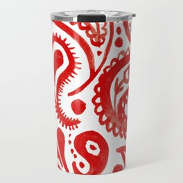 Handpainted Paisley Pattern Red Color Travel Mug