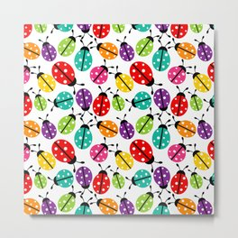Lots of Crayon Colored Ladybugs Metal Print