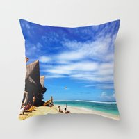 indonesia Throw Pillows featuring BALI, Indonesia  by BRIELLE LEVY
