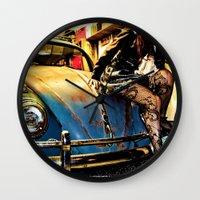 volkswagon Wall Clocks featuring Bug Life by sysneye