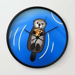 Sea Otter with Pizza Wall Clock