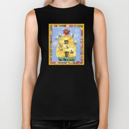 Busy Bees with Border Biker Tank