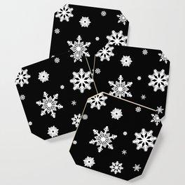 Snowflakes   Black & White Coaster
