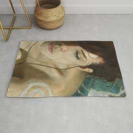 Woman Portrait Listening with Earphones Female Figurative Painting Rug
