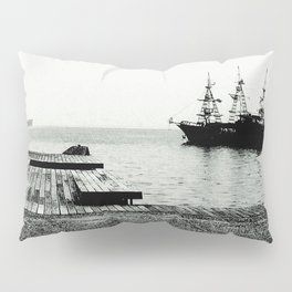 ships on a calm sea black and white Pillow Sham