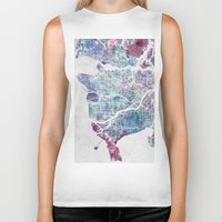 vancouver Biker Tanks featuring Vancouver map by MapMapMaps.Watercolors