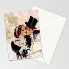 Vintage MON Amour Couple Stationery Cards