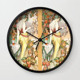 "Alphonse Mucha ""Cognac Bisquit"" Wall Clock"