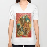 racing V-neck T-shirts featuring Racing Collage by Connie Campbell