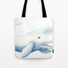 Nautical Whale Watercolor Tote Bag