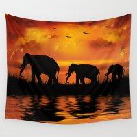safari Wall Tapestries featuring Elephant Safari by FantasyArtDesigns