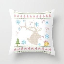 Big Game Elk Hunting Christmas Ugly Holiday Shirt Throw Pillow