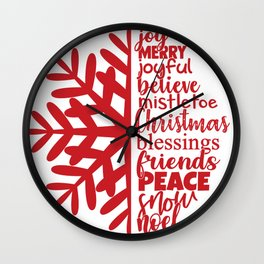 Merry Christmas Red Snowflake Word Art Wall Clock