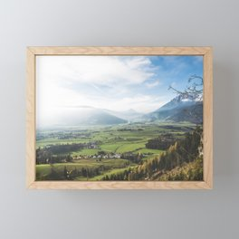 View of farmlands in a misty day Framed Mini Art Print