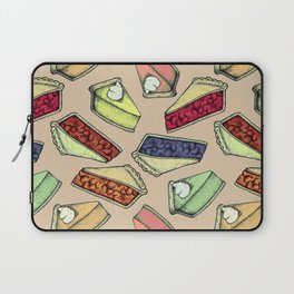 Easy As Pie - cute hand drawn illustrations of pie on neutral tan Laptop Sleeve