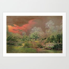 English Garden Sunset Art Print