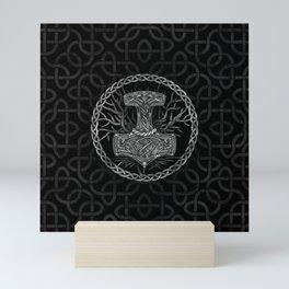Mjolnir - The hammer of Thor and Tree of life Mini Art Print