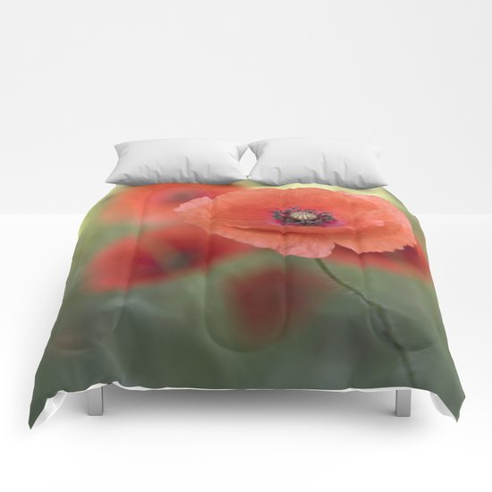 Beautiful poppy in a meadow Comforters