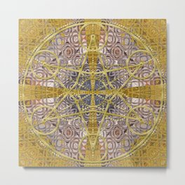 Golden Steampunk Geometry Star Metal Print