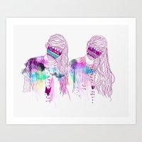 girls Art Prints featuring ▲GIRLS▲ by Kris Tate