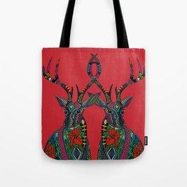 poinsettia deer red Tote Bag