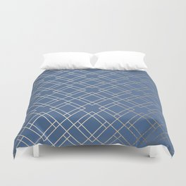 Simply Mid-Century in White Gold Sands on Aegean Blue Duvet Cover