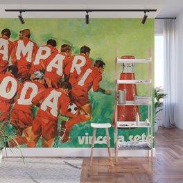 Vintage 1970 Soccer Motif Campari Soda Advertisement by Pijoan Wall Mural
