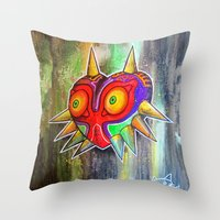 majora Throw Pillows featuring Majora mask by Lyxy