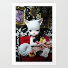 WEEKEND AT HOME (Cat Doll) Art Print