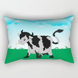 Cow on a meadow Rectangular Pillow