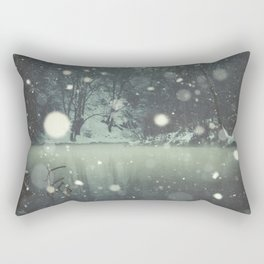 Moments of Silence - Snowflakes over the river Rectangular Pillow
