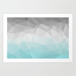 light blue and grey polygon Art Print