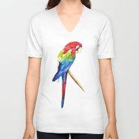 parrot V-neck T-shirts featuring Parrot by Bridget Davidson