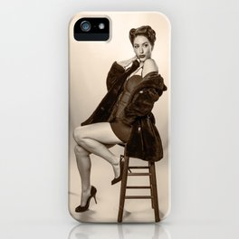 """""""Show a Little Shoulder"""" - The Playful Pinup - Vintage Pin-up Girl in Coat by Maxwell H. Johnson iPhone Case"""