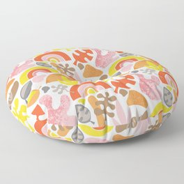 Abstract Papercut Shapes Collage Pink Red Yellow on White Floor Pillow
