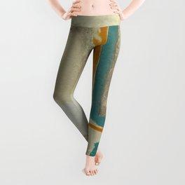 Soft And Bold Rothko Inspired - Modern Art - Teal Blue Orange Beige Leggings