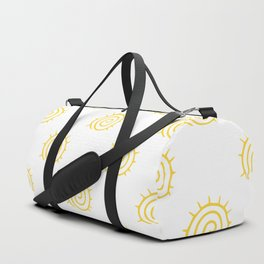 Yellow Spiral Sun on white background Duffle Bag