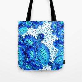 Flowers of Paradise - In Skuba Blue and Aqua Tote Bag