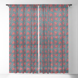 Rolling Rocket Red Sheer Curtain