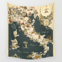 Gastronomic Map of Italy 1949 Wall Tapestry