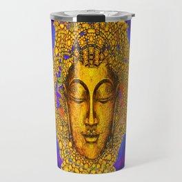PURPLE MORNING GLORY GOLDEN BUDDHA FACE Travel Mug