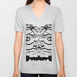 Artistic bat in the darkness , Abstract, art, Gray, black,  graffity, points, bat Unisex V-Neck