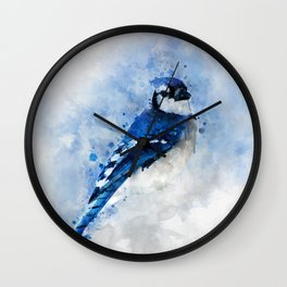 Watercolour blue jay bird Wall Clock