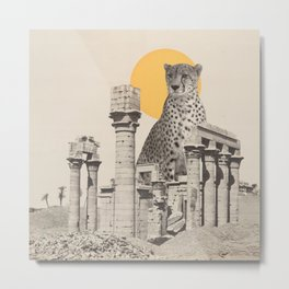 Giant Cheetah in Ruins Metal Print