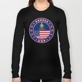 Kansas, Kansas t-shirt, Kansas sticker, circle, Kansas flag, white bg Long Sleeve T-shirt